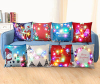 Wholesale 45 cm New Lights Lights LED Luminous Pillow Case Creative Sofa Cushion Pillowcase Christmas Day Theme Patterns Best Decorative Gifts