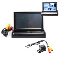 Wholesale Tft Lcd Monitor Hd - 10pc lot 4.3 inch Foldable TFT HD LCD screen Display Car Rearview Monitor with Car Rear view Camera