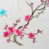 Wholesale Crafting Flowers - Brand New Embroidered Plum Blossom Flower Patch Iron Sew on Applique Motif Craft 1 Pc Free Shipping[CA12265]
