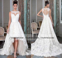 Wholesale white bridal wraps - High Low Lace Court Train Wedding Dresses 2016 New Sheer Jewel Neck Puffy Asymmetrical Bridal Gown Vestido