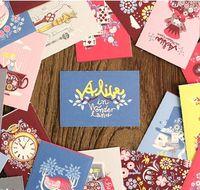 Wholesale Vintage Sticker Set - 48pcs  Vintage Cartoon Alice series Matchbox Label paper sticker set  Decoration sealing label Wholesale , free shipping