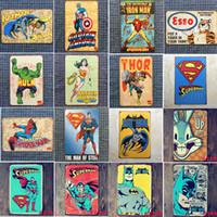 eski kalay levhaları toptan satış-23 Stilleri Marvel Film Süper Kahramanlar Eski Ev Dekor Tabela Bar Pub Dekoratif Metal Burcu Retro Metal Plaka Boyama Metal Plak