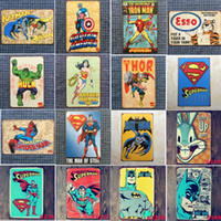 Wholesale paint signs - 23 Styles Marvel Film Super Heroes Vintage Home Decor Tin Sign Bar Pub Decorative Metal Sign Retro Metal Plate Painting Metal Plaque