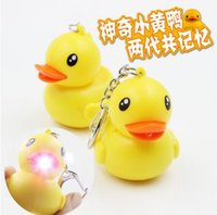 Wholesale Car Lighting Items - Novelty items men jewelry Cute Cartoon Yellow Duck Keychain Sound LED Light Key Ring Toy PVC key holder