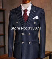 Wholesale Grey Bespoke Tuxedo - Wholesale- Custom Made Chalk Stripe Men Suits Bespoke Grey Black Dark Navy Blue Groom Tuxedos For Men Double Breasted Wedding Prom Suits