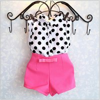Wholesale Girls Polka Dot Vest - 2016 Girls Summer Polka Dots Sleeveless Vest Shirt+Bowknot Shorts 2pcs Sets Kids Outfits Lovely Baby Girl Clothing Children Suit 100-140cm