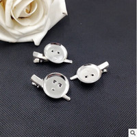 Wholesale Hair Clip Brooch Pin Backings - Wholesale-MN-DIY brooch base 25mm 300pcs lot Dual Brooch Back Base With Clip and Safety Pin use for brooch and hair jewelry CPAM hair flower