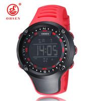 ingrosso orologi rossi della cinghia rossa-OHSEN brand new digital LED moda orologio da polso mens regali maschio cinturino in gomma rosso moda digitale sport all'aria aperta orologi militari