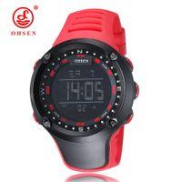 cf3e25032d01 OHSEN nuevo digital LED reloj de pulsera para hombre regalos masculinos  correa de caucho rojo moda digital deportes al aire libre relojes militares