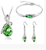 Wholesale Wedding Outfits For Women - Pendant Necklace Earrings Austrian Crystals Jewelry set two-piece outfit Fashion bracelet Wholesale Charms Beads bracelets for Women Wedding