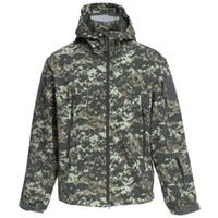Wholesale Camouflage Jacket Hood - Wholesale-ESDY Men Outdoor Hunting Camping Waterproof Coats Soft Shell Hiking Camouflage Jacket With Hood
