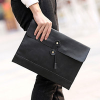 Wholesale Envelope Purse Clutch Pu - 2016 Envelope Bag Women Men Pu Leather Clutch Purse Document Bags Men's A4 Bag String Handbag Black Coffee Trendsetter briefcase