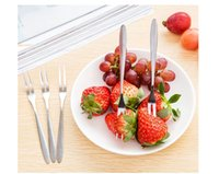 Wholesale 500pcs Stainless Steel Fruit Fork Cutlery Dessert Fruit Forks For Restaurant Cafeteria Home Flatware For Fruit Salad cm ZA0404