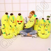 Wholesale Banana Cushion Pillow - 100pcs CCA4189 High Quality 40cm Banana Cushion Emoji Smiley Pillow Cartoon Cushion Yellow Emoji Banana Pillow Doll Stuffed Plush Pillow Toy