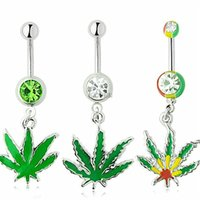 Wholesale Sexy Girl Navel - 3pcs lots Sexy Rhinestone Ball Green Leaf Medical Stainless Steel Piercing Belly Button Rings Body Piercing Navel Jewelry Free Shipping