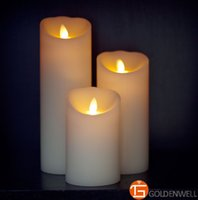 Gros-3pcs / set compris à distance VANILLA SCENTED Wax Flameless Moving Wick Candle