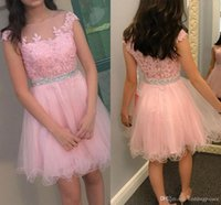 Wholesale Latest Party Wear Dress - 2017 Latest Pretty Pink Min Short Homecoming Dresses Zipper Back Appliques A Line Tulle Satin Formal Cocktail Party Dresses Prom Dresses