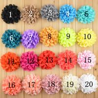 Wholesale Eyelet Chiffon - Eyelet Chiffon Flowers for Headband Fabric Chiffon Flowers Chiffon Puff Flower XF037