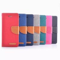 cıva flip toptan satış-Kore MERCURY Çift Renk Tuval Flip Case Kapak iphone 6 artı Samsung Galaxy S5 S6 Kenar ile kart yuvaları tutucu standı DHL