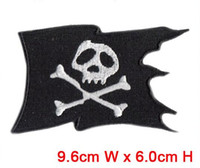 Wholesale Wholesale Customized Patches - 9.6cm*6.0cm 30pcs lot skull flag patch hot cut Iron on customized garment accessories manufactory free shipping