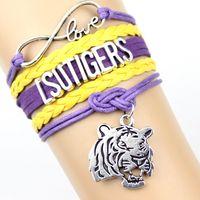 Wholesale Customized Stainless Bracelets - Infinity Love LSU TIGERS football Team Bracelet orange Dark blue Customized NCAA Wristband friendship Bracelets 2016 new