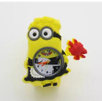 3D Eye Despicable Me slap watch minion Precious Children Watches Slap Snap On Silicone Quartz Wrist Watch