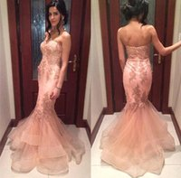 Wholesale white empire strapless prom dress resale online - 2017 Beautiful Peach Pink Mermaid Prom Party Dresses Organza Applique Strapless Backless Trumpet Formal Evening Gowns