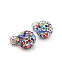 Wholesale Nose Studs Pearl - 2016 Shambhala Bijoux Colorful Shinning Crystal Dot Stud Earrings Double Sides Imitation pearls Earrings For Women Bijoux