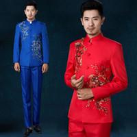 Wholesale Men S Clothing Formal Dress - Wholesale-S-XXL! 2016 New Men's clothing male chinese tunic suit costume suit set Paillette costume Suit formal dress SInger costumes