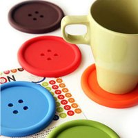 Wholesale Button Design Cup - 200pcs Sweet Candy Colors Button Design Coffee Cup PAD MAT Round Protective Tea Coffee Cup Coaster Cup Mat Pad - Diameter 8cm