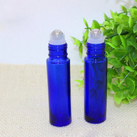Wholesale Essential Oil Blue Glass Bottle - 10ml Blue Glass Roller Bottles With Metal Ball for Essential Oil Aromatherapy Perfumes and Lip Balms Free Shipping Glass Make Up Bottles
