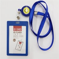 Wholesale Id Badge Holders Pvc - Wholesale-PVC ID Badge Holder Accessories Vertical Credit Card Bus Cards Case Papelaria Cute Stationery Supplies With Lanyard Badged Reel
