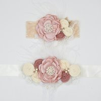 Wholesale Rosette Headband Feather - Satin Lace Flower Headband and Baby Sash Belt Matching Baby Rosette Trio Bow Sparking Rhinestone Pearl Baby Feather Photography Props