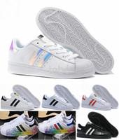 Wholesale Sport Light Sale - 2016 Hot Sale Superstar White Hologram Iridescent Junior Skate Shoe Superstars Sneakers Super Star Women Men Sport Running Shoes 36-45