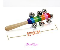 Wholesale Wholesale Wooden Baby Cribs - Baby Rattle Rainbow Toy kid Pram Crib Handle Wooden Activity Stick Shaker Rattle Baby Gift