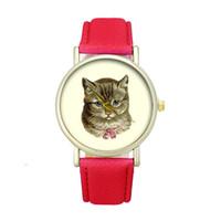 Wholesale Cat Watches For Women - Brand New 2017 Fashion Women Casual Watch Cat Pattern Wristwatch for Girl Quartz Cartoon Watch Clock Hours Relojes Gift