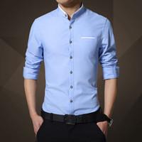 Wholesale Mens Mandarin Shirts - Wholesale- Mens Solid Color Shirt 2017 Spring Business Casual Long-Sleeve Shirt male Slim Fashion stand collar Shirt Brand clothes 4XL 5XL