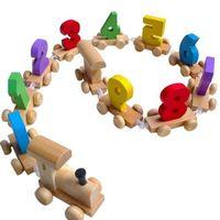 Wholesale Educational Train Toys - Great Digital Number Wooden Train Figures Railway Kids Wood Mini Educational Toy