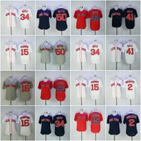 Wholesale Red Sox Jerseys - Men's Boston Red Sox Jersey 34 David Ortiz 15 Dustin Pedroia 50 Mookie Betts 16 Andrew Benintendi 41 Chris Sale Bogaerts Baseball Jerseys