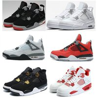 Wholesale Black Military Packs - High Quality Retro 4 Basketball Shoes Men Women 4s Pure Money Royalty White Cement Bred Military Blue Sports Sneakers countdown pack