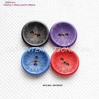 """Wholesale Sewing Buttons Purple - (4colors,100pcs) Flower Wooden Button Scrapbook Kid's Sew Button Black Purple Navy Red 13 16""""-BY0247"""