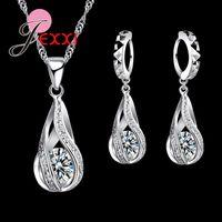 Wholesale Earrings Hoops Wave - JEXXI 925 Sterling Silver Classic Drop Shape White Crystal Jewelry Sets Water Wave Necklace Pendant Hoop Earrings
