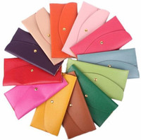 Wholesale Leather Envelope Clutch Purse Wholesale - Lady Wallets New Leather Credit Card Tote Envelope Clutch Bags For Women Wallet Purse 14 colors in stock Free shipping