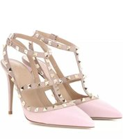 Lady Pleather Point Toe Rivets Decorado Sexy High Heels Tornozelo Strap Pumps Shoes para Mulher, Partywedding
