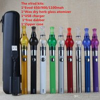 Wholesale Evod Glass - cheapest electronic cigarette eVod battery starter kit with 650 900 1100mah battery EVOD herb vaporizers globe atomizer pyrex glass tank