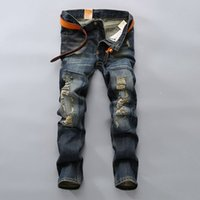 Wholesale Jeans Trou - Wholesale-New Famous Brand Vintage Men Jeans Designer Casual Hole Ripped Jeans Mens Fashion Skinny Denim Pants Silm Fit Male Trou 6010601A