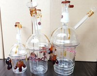 Wholesale Cup Hot Pair - HOT Dabuccino Bubbler Cheech Cup Oil Rig Honey Comb Glass Tornado Percolator with One Pair of Tortoise Glass Hookah Starbuck Cup Glass Bong