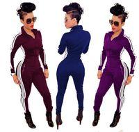 Wholesale Sale Chiffon Black Jumpsuit - hot sale woman Joggers Bandage Jumpsuit Tracksuit Black Three White Striped Sides Front Zipper Fashion Women Bodycon Jumpsuits