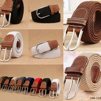 Wholesale Elastic Metal Buckle Belt - Elastic Knitted Belts Fashion Mens Metal Buckle Waist Strap High Quality Military Army Tactical Canvas Belts Male Cloth Stripped Belts
