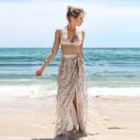 Wholesale Long Straight Beach Skirts Women - Women Skirts Long Beige Beach Skirt Sparkling Sequins Tassel Skirt Skirt Beach Design